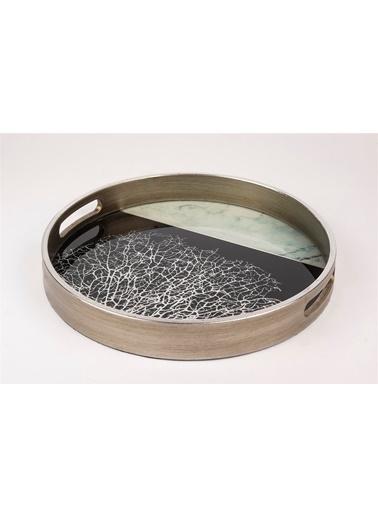Mikasa Moor Gümüş Siyah Mermer Desenli Yuvarlak Tepsi 30Cm Gümüş